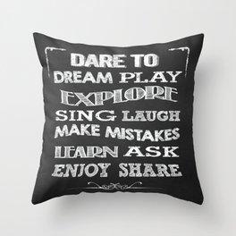 Inspiring Typography artwok on chalkboard Throw Pillow