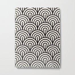 black & white geometric pattern mid century modern fish scales art deco pattern Metal Print