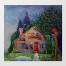 Evening rural landscape with a small house and a lake. Watercolor. Canvas Print