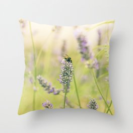 A bee on the lavender Throw Pillow