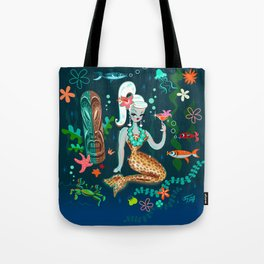Blonde Leopard Martini Mermaid Tote Bag
