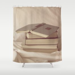 books in bed Shower Curtain