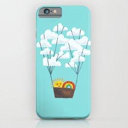 Hot cloud balloon - sun and rainbow iPhone Case
