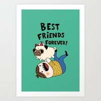pug Art Prints featuring PUG by Jarvis Glasses