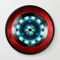 iron man Wall Clocks featuring Iron Man Iron Man by ThreeBoys