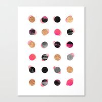 gold dots Canvas Prints featuring Pink & Gold Minimal Dots by Elisabeth Fredriksson