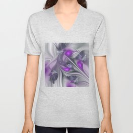 Magic, Violet And Gray Fractals Art Abstract Unisex V-Neck