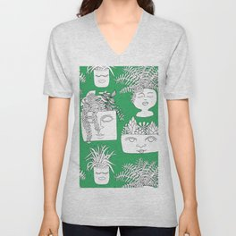 Illustrated Plant Faces in Kelly Green Unisex V-Neck