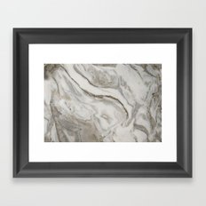 Marble - Earthy Black and White Swirl Marble Texture Framed Art Print