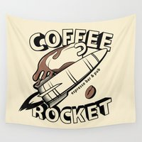rocket Wall Tapestries featuring COFFEE ROCKET by Brandon Ortwein