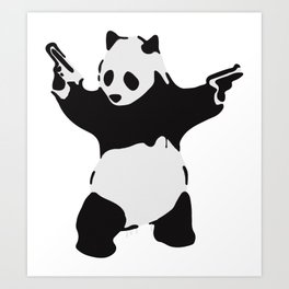 Banksy Pandamonium Armed Panda Artwork, Pandemonium Street Art, Design For Posters, Prints, Tshirts Art Print