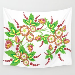 Abstract branch with flowers and strawberries Wall Tapestry