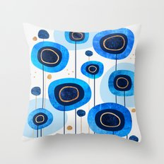 Floral Blues Throw Pillow