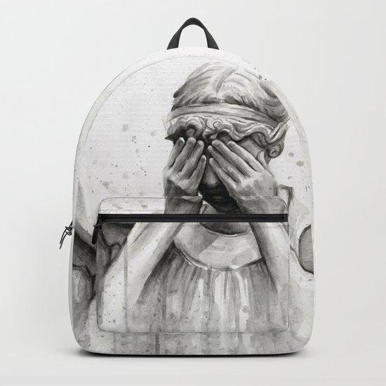 Weeping Angel Watercolor Painting Backpack