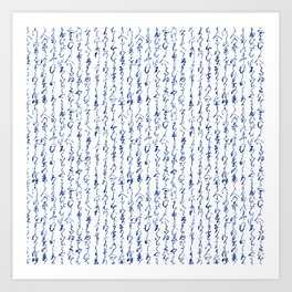 Ancient Japanese Calligraphy // Dark Blue Art Print