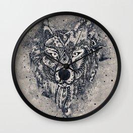 Geometric Wolf Mandala Wall Clock