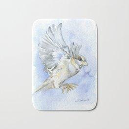 Sparrow Watercolor Bath Mat