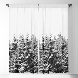 Winter Trees V - Snow Capped Forest Adventure Nature Photography Blackout Curtain