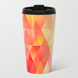 Chic Bright Pink Orange Colors Funky Retro Triangles Mosaic Pattern Travel Mug