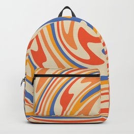70s Retro Swirl Color Abstract 2 Backpack