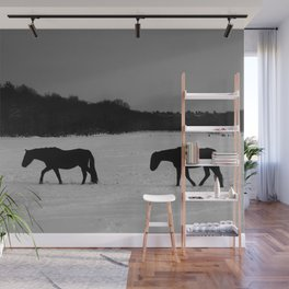 Horses On Snow Wall Mural