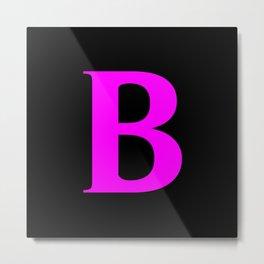 B MONOGRAM (FUCHSIA & BLACK) Metal Print