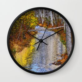 Autumn Stream - Watercolor Wall Clock