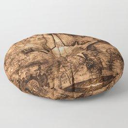 Antique World Map & Compass Rose Floor Pillow