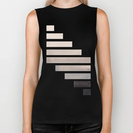 Grey Midcentury Modern Minimalist Staggered Stripes Rectangle Geometric Aztec Pattern Watercolor Art Biker Tank
