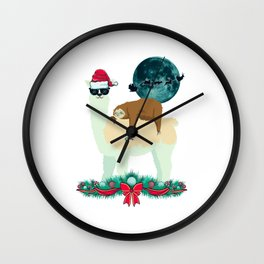 Llama Sloth Christmas Santa's Sleigh Silhouette In Front Of The Moon Wall Clock