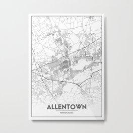 Minimal City Maps - Map Of Allentown, Pennsylvania, United States Metal Print