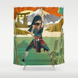 woman female ninja warrior with sai blades on japanese mountains Shower Curtain