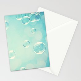 Bubble Photography, Laundry Room Soap Bubbles, Aqua Teal Bathroom Photography Stationery Cards