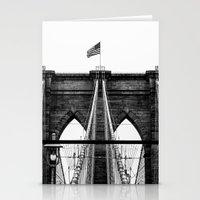 brooklyn bridge Stationery Cards featuring Brooklyn Bridge by Graham Dunk