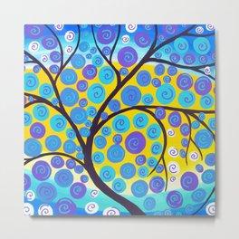 Aqua Tree of Life Metal Print