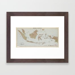 Republic of Indonesia Map (1957) Framed Art Print