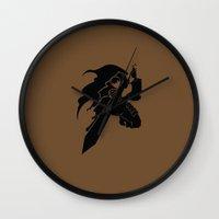 berserk Wall Clocks featuring Gatsu by the minimalist