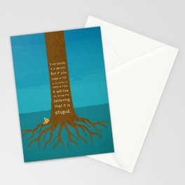 Lab No.4 Everyday Is A Genius.  But If You Judge A Fish By Its Ability To Climb A Tree Quotes poster Stationery Cards