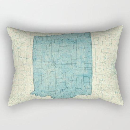 Iowa State Map Blue Vintage Rectangular Pillow