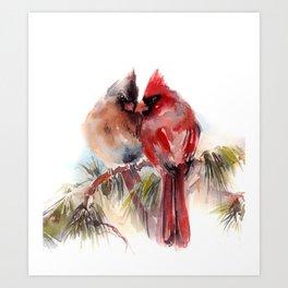 Cardinal Birds Couple Art Print
