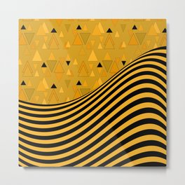 Yellow , black , striped Metal Print