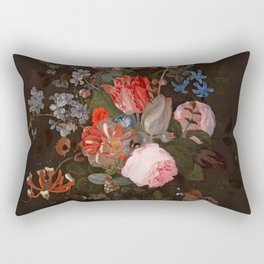 "Adriaen van der Spelt ""Still life of flowers on a stone ledge"" Rectangular Pillow"