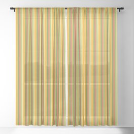 Golden Shades of Orange & Yellow with Fresh Green Tones in Vintage Vertical Stripes Sheer Curtain