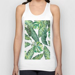Jungle Leaves, Banana, Monstera #society6 Unisex Tank Top