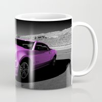 mustang Mugs featuring Pink Mustang  by Rob Hawkins Photography