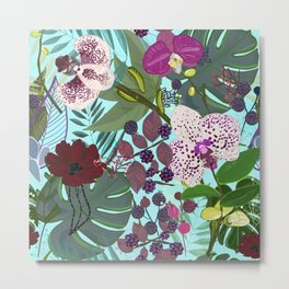 Orchid and Cosmos Flower Botanical Floral Metal Print