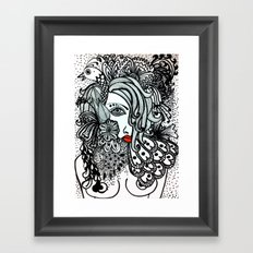 Girl in Bird Framed Art Print