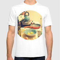 Sunday Morning Breakfast White SMALL Mens Fitted Tee