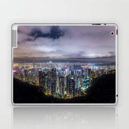 Beautiful Hong Kong city dark night view Laptop & iPad Skin