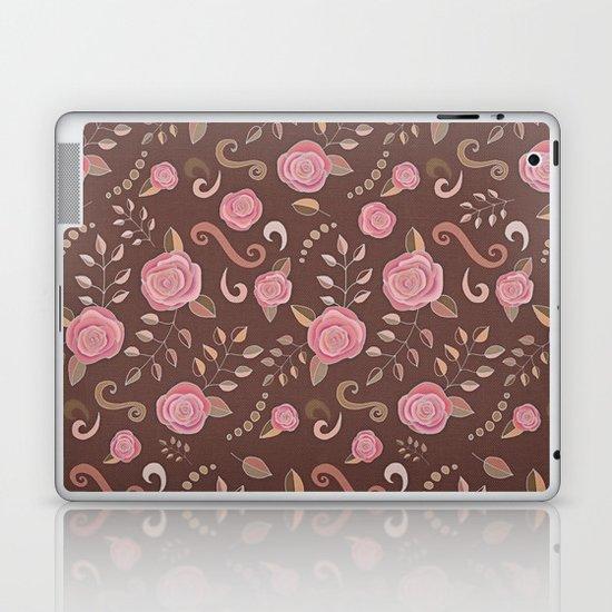 Coffee Roses - vintage rose pattern in pink and brown Laptop & iPad Skin
